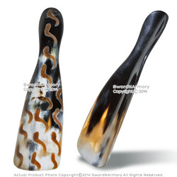 """8.5"""" Genuine Cow Horn Polished Shoe Horn Hand Made Burnt Pattern Shoe Accessory"""