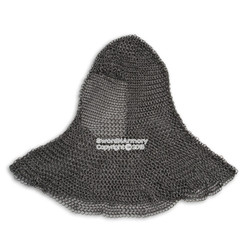 Medieval Chain Mail Head Coif High Tensile Steel Butted w/ Aventail for LARP SCA
