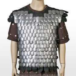 Medieval Scale Body Armor 20G Steel with Leather Liner LARP Costume M/L/XL