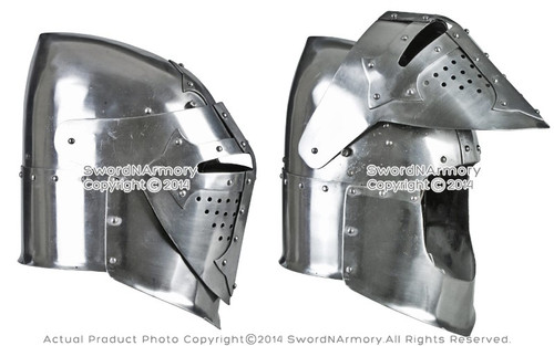 Battle Ready Medieval Knight 14th Century Sugarloaf Bascinet Helmet SCA  Armor 16G Steel