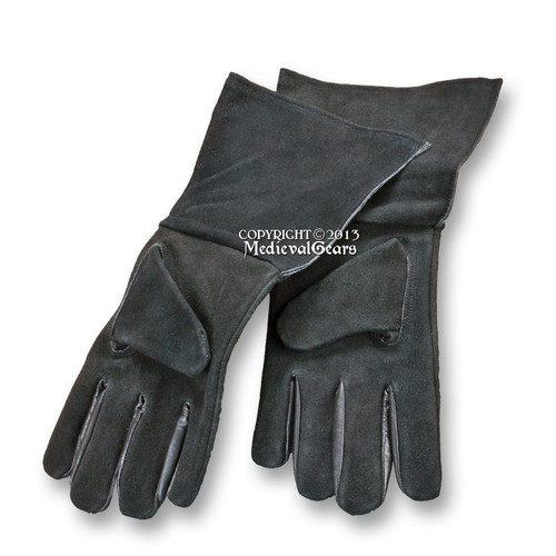 Large Size Medieval Genuine Suede Leather Gloves for Gauntlets LARP Costume