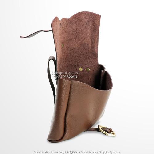 Leather Bag Pouch Laced Purse Renaissance Medieval Aged LARP Prop Caramel Brown