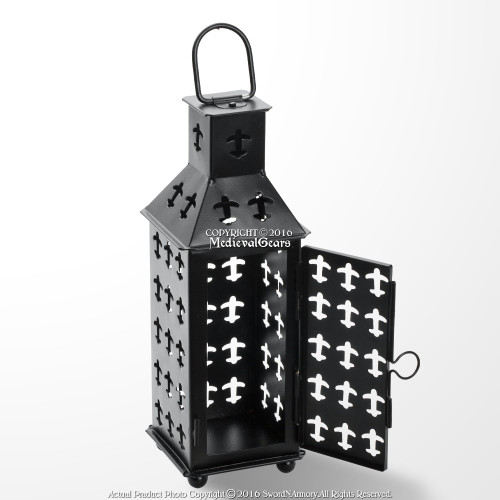 Medieval Camping Iron Square Lantern Matte Black Renaissance Fair Home Decor