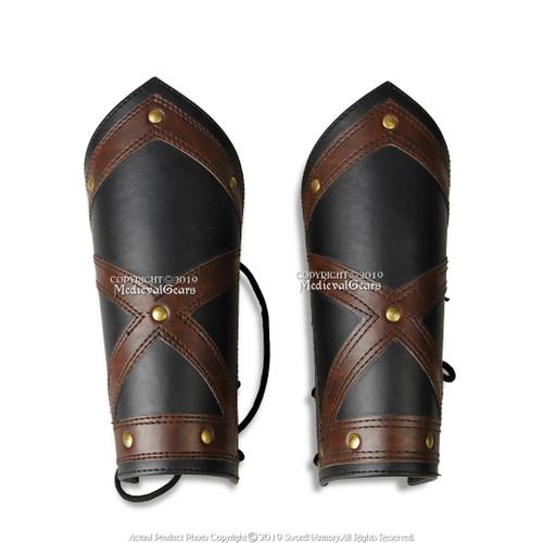 Medieval-Larp-SCA-Cosplay-Archer-Archery REAL LEATHER BROWN ARM GUARD//BRACER