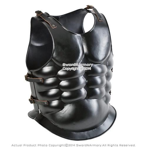 Roman Muscle Breast Plate Medieval Armor Cuirass LARP Chrome Body Jacket 18G Steel Replica  costume
