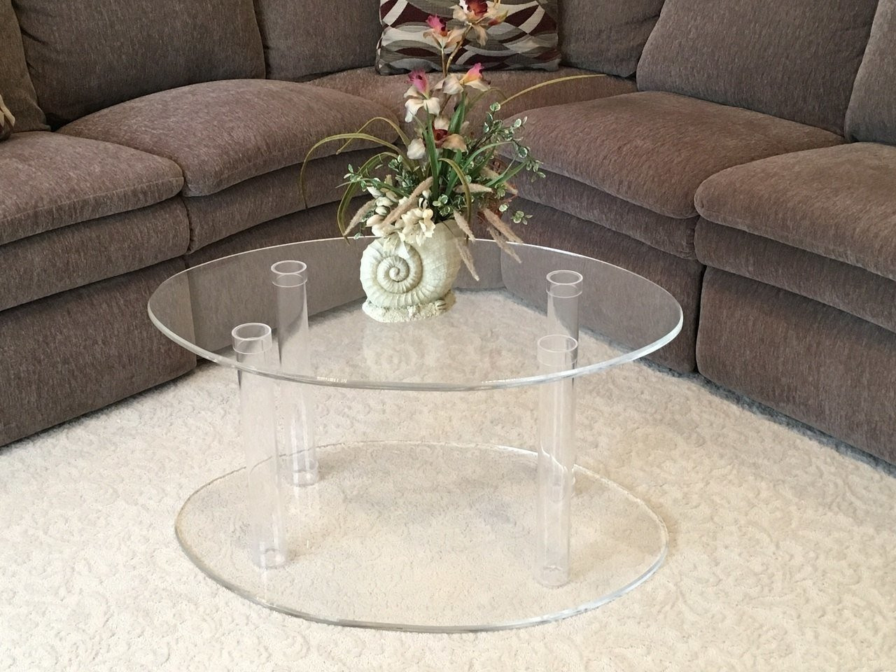 CLEAR LUCITE COFFEE TABLE