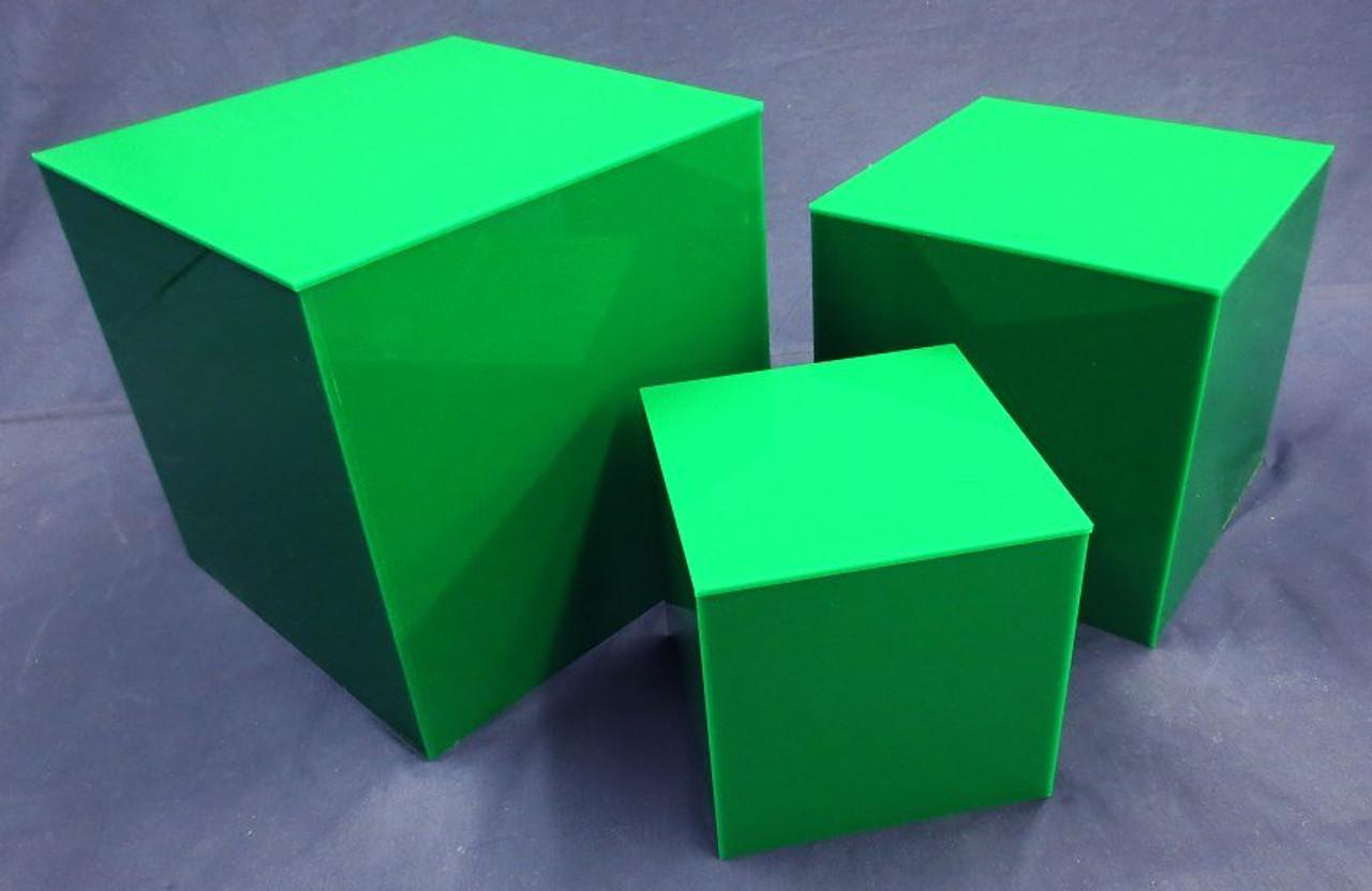 3 PIECE SQUARE ACRYLIC CUBE SET - GREEN