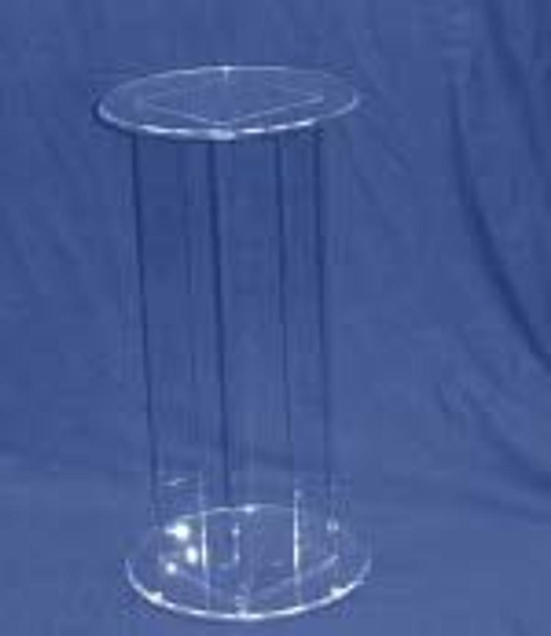 Circular Acrylic Pedestal, 24 Inch, Clear