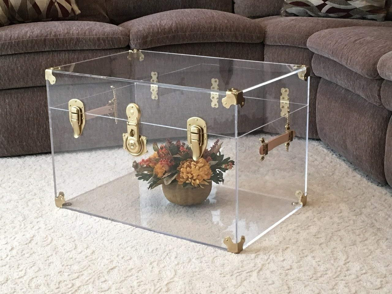 Flat-Top Clear Acrylic Trunk, 28 inches Wide x 18 inches deep x 16 inches high, Brass Hardware