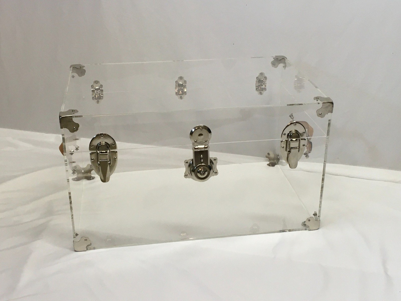 Flat-Top Clear Acrylic Trunk, 28 inches Wide x 18 inches deep x 16 inches high, Silver Hardware