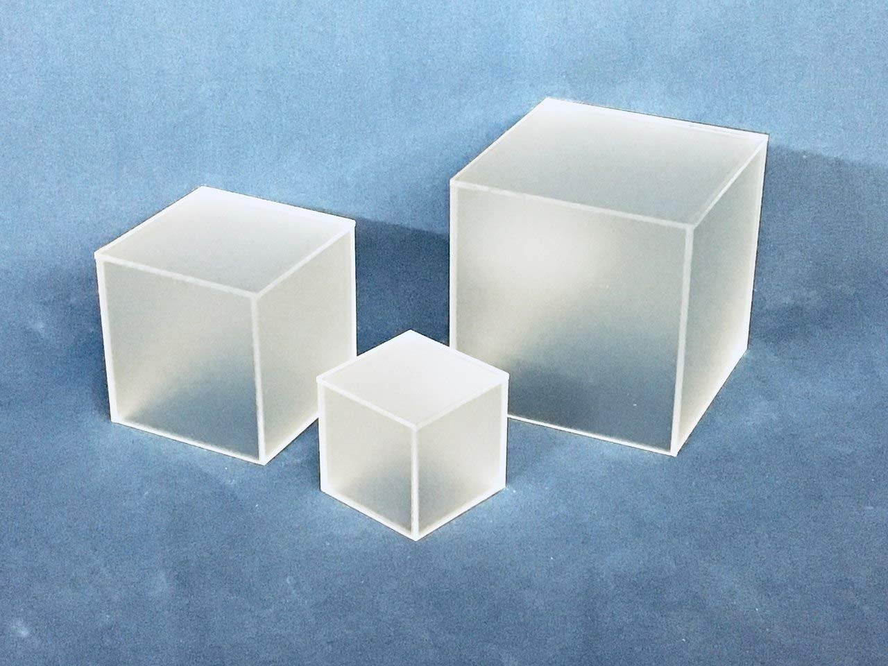 Clear Stands Economy Cubes - Frosted Square Cube 4 inch, case of 8