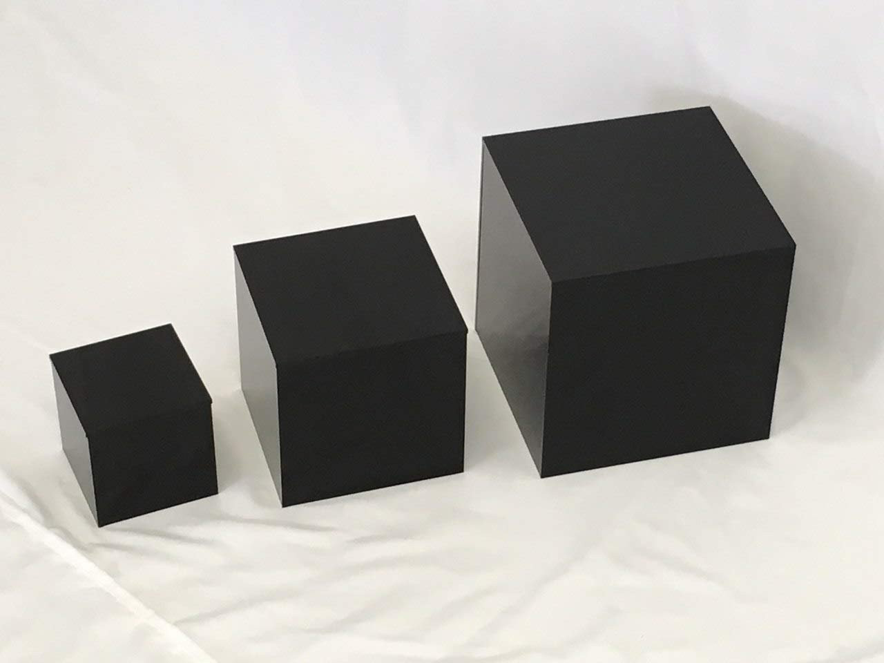 Clear Stands Economy Cubes - Black Square Cube 8 inch, case of 8