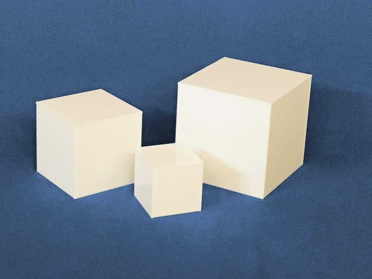 Clear Stands Economy Cubes - White Square Cube 8 inch, case of 8