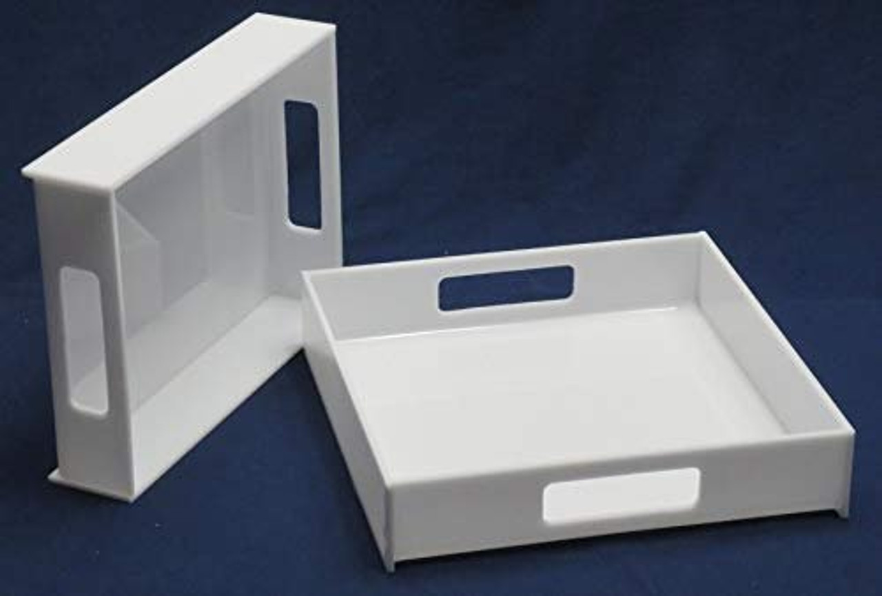 Acrylic Serving Trays, White, Case of 3, 12 inch square, 2 Inch sides