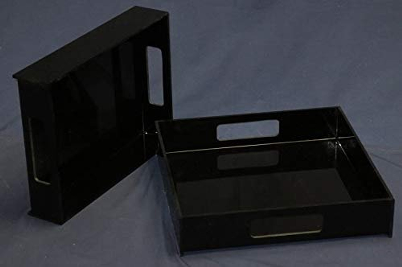 Acrylic Serving Trays, Black, Case of 3, 16 inch square, 2 Inch sides