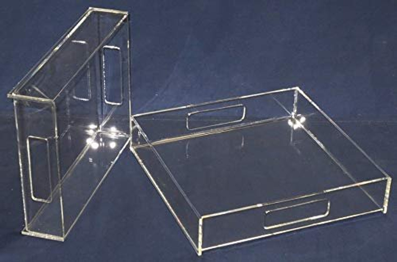 Acrylic Serving Trays, Clear, Case of 3, 14 inch square, 2 Inch sides
