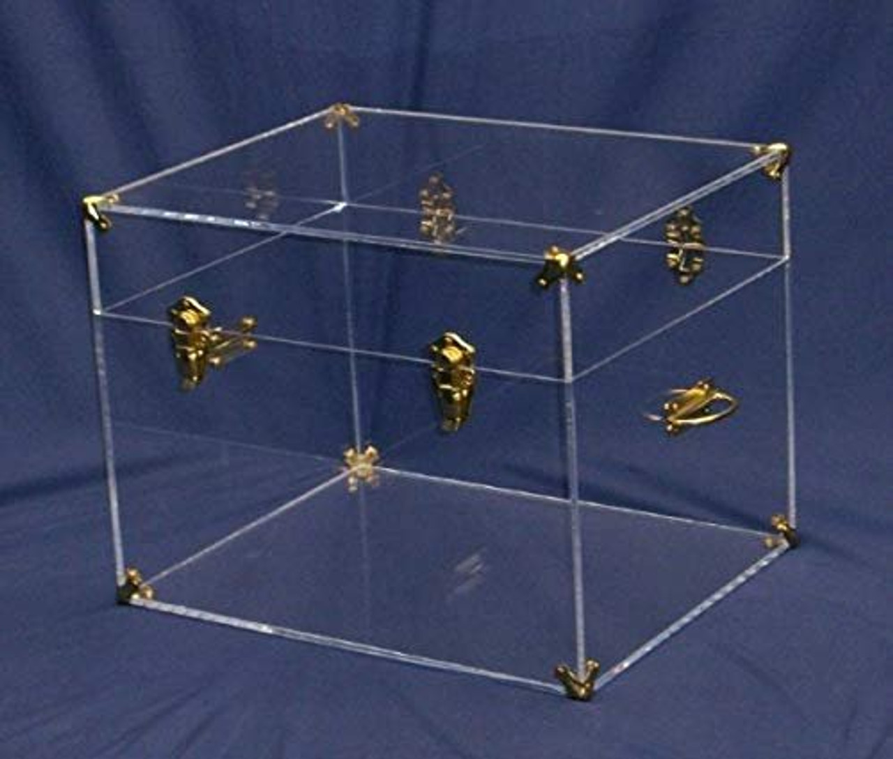Flat-Top Acrylic Chest, Brass Hardware, 20 inches Wide x 16 inches deep x 15.5 high