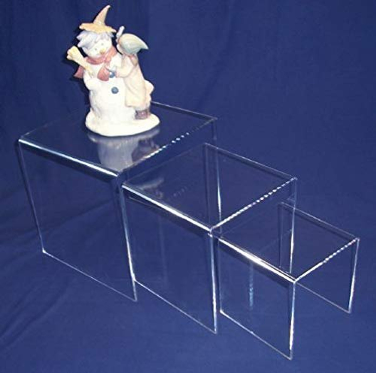 3 Piece Square Acrylic Riser Set, Clear, 2 Sets Included