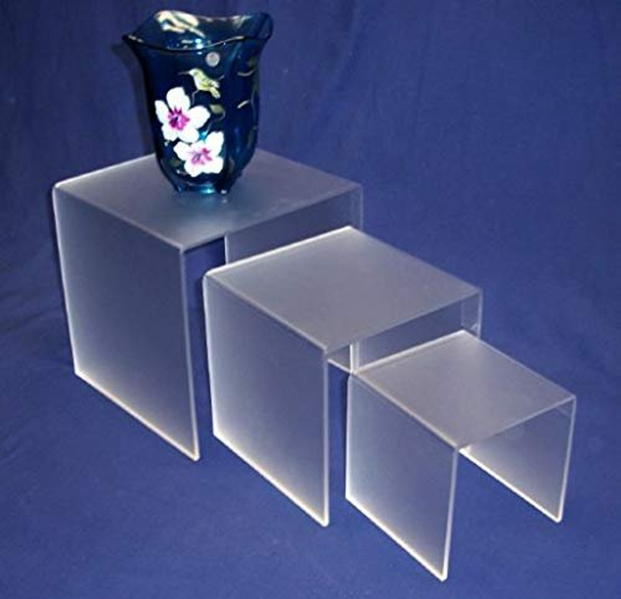 3 Piece Square Acrylic Riser Set, Frosted, 2 Sets Included