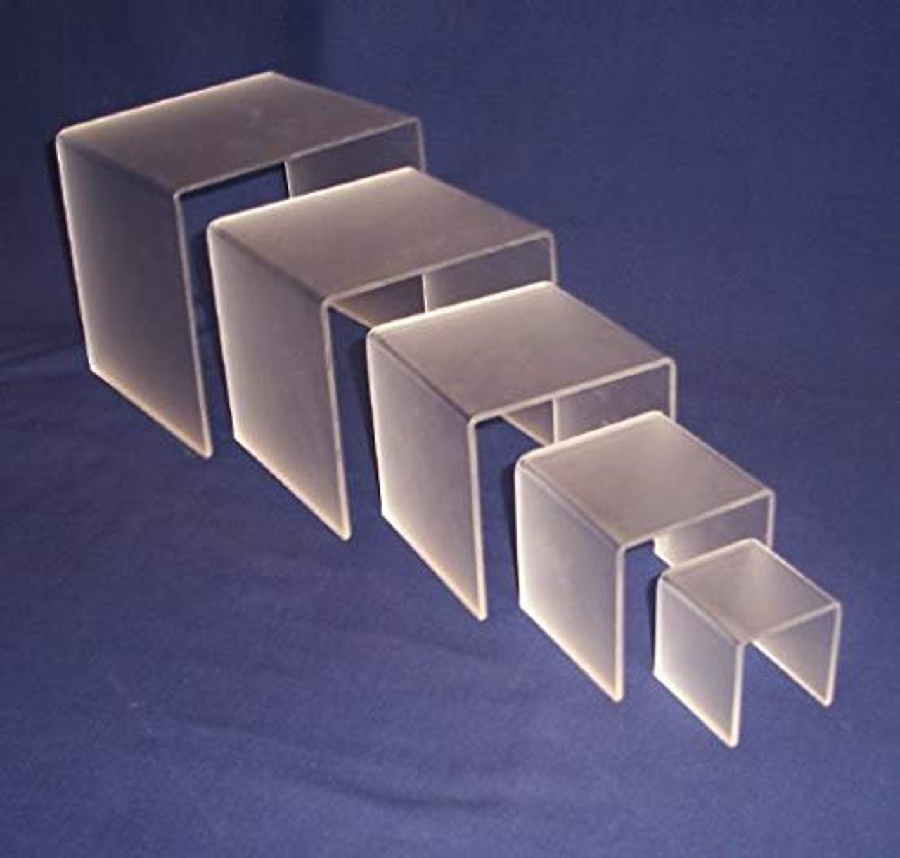 5 Piece Square Acrylic Riser Set, Frosted, 2 Sets Included