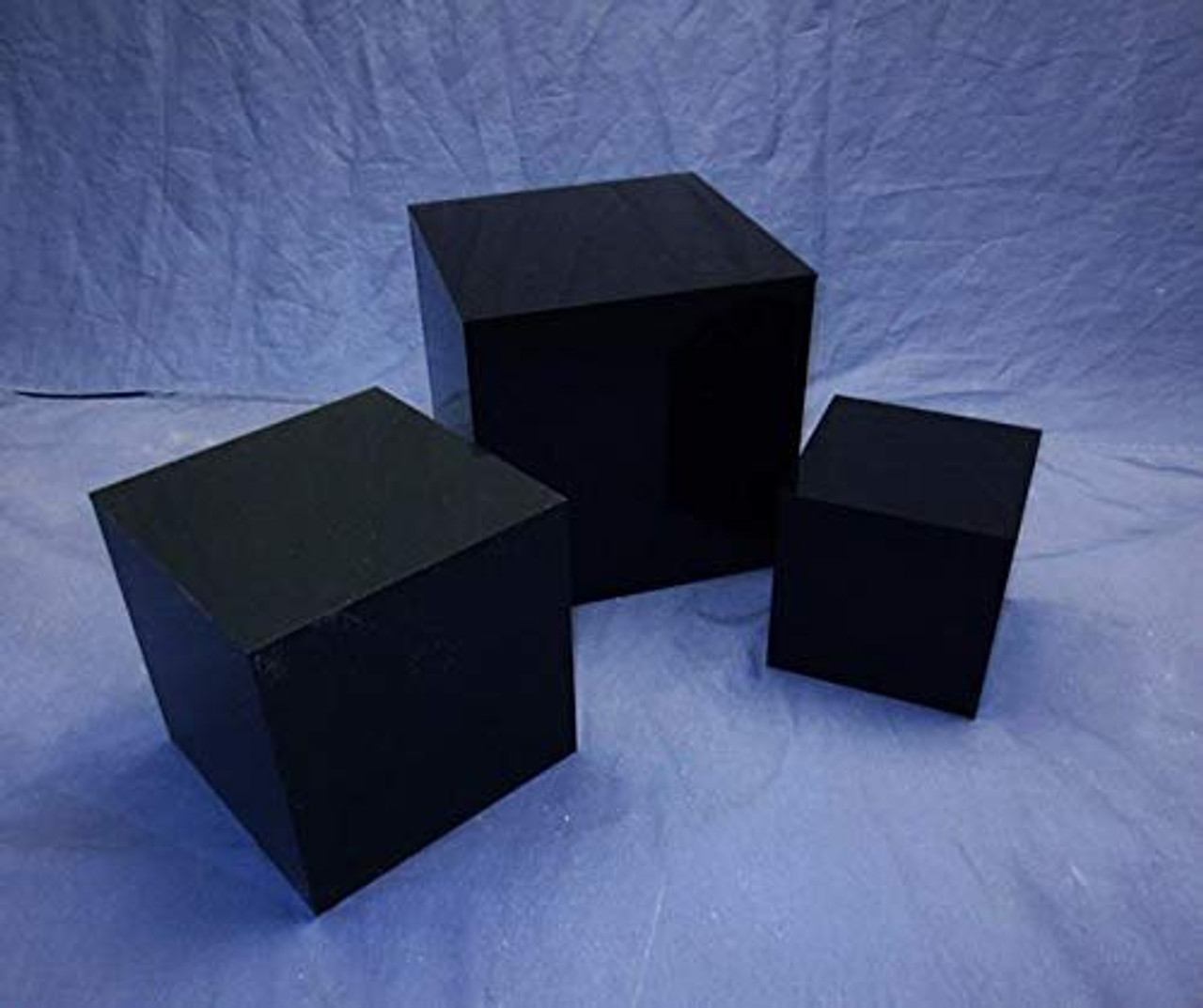 Clear Stands 3 Piece Square Acrylic Cube Set, Black