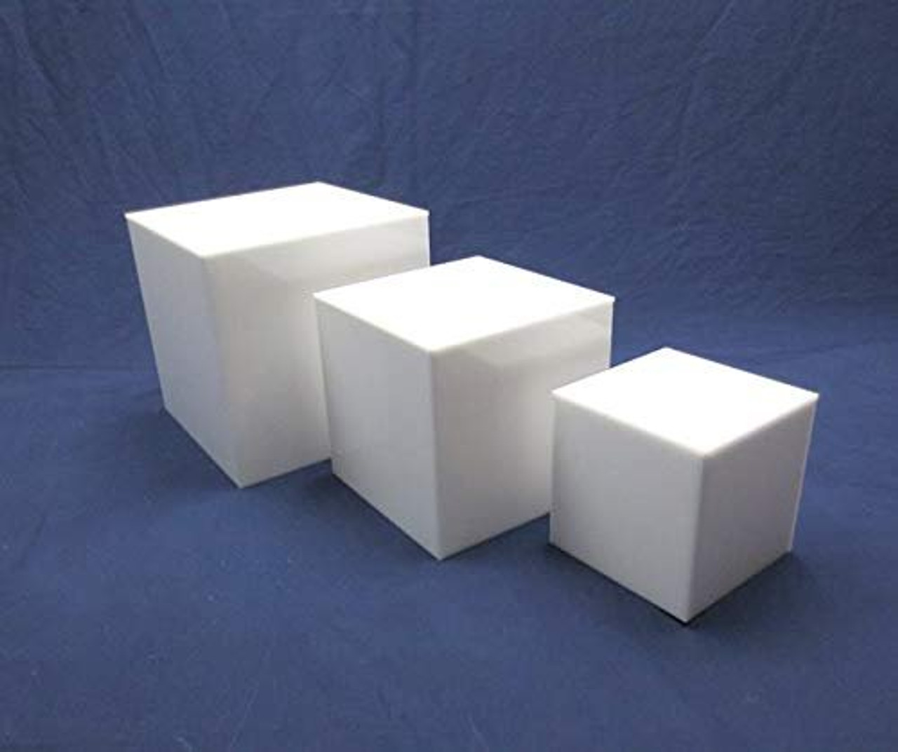 Clear Stands 3 Piece Square Acrylic Cube Set, White
