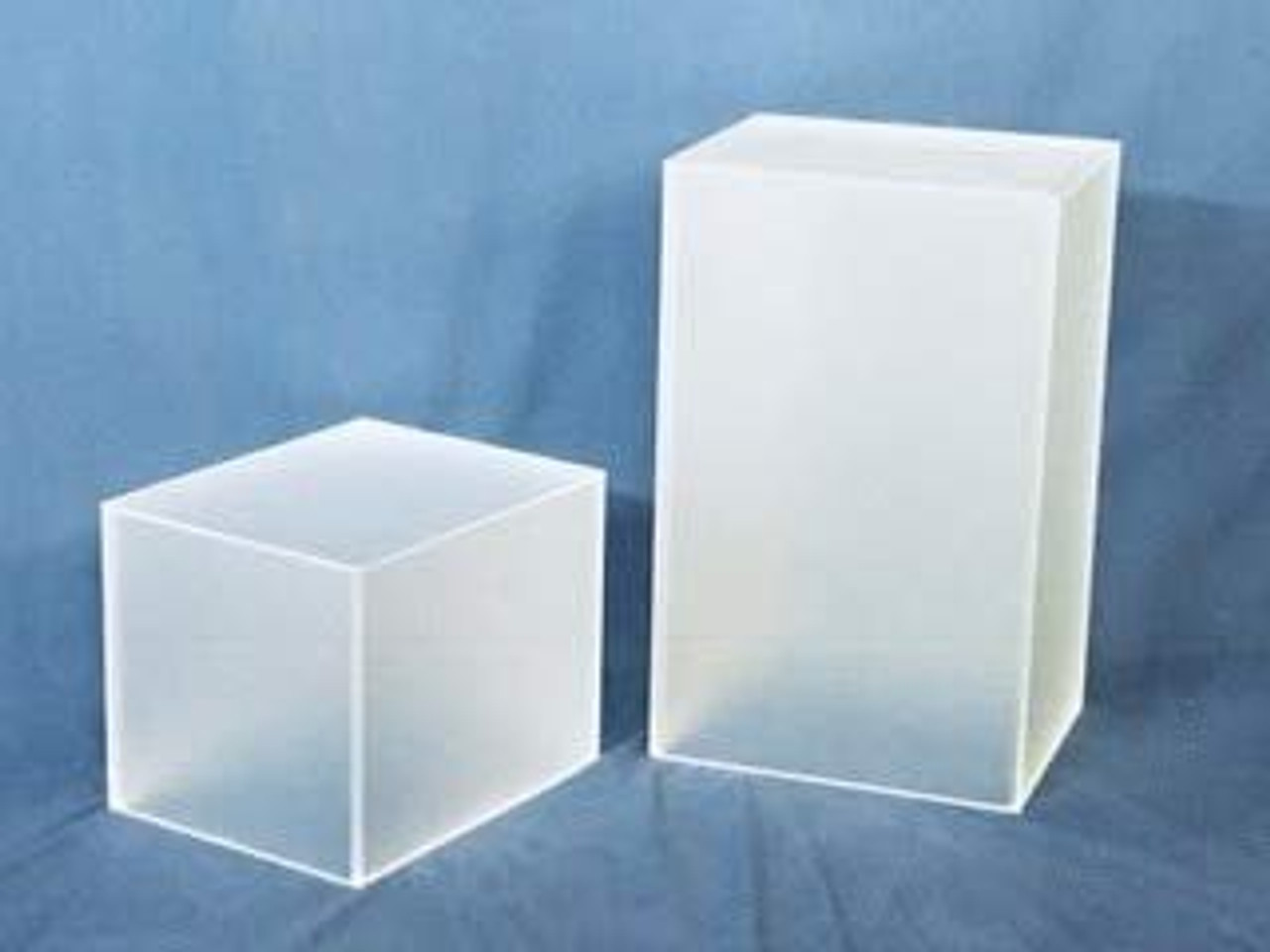 Rectangular Acrylic Display Cube, Frosted Finish, White, 12 Inch