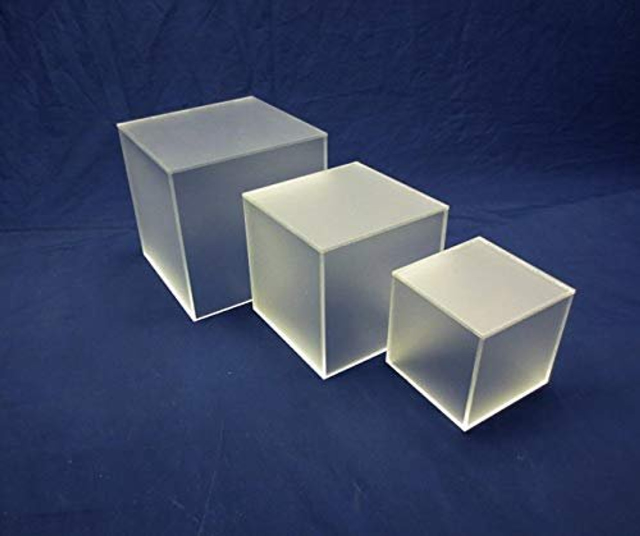 3 Piece Square Acrylic Cube Set, Frosted