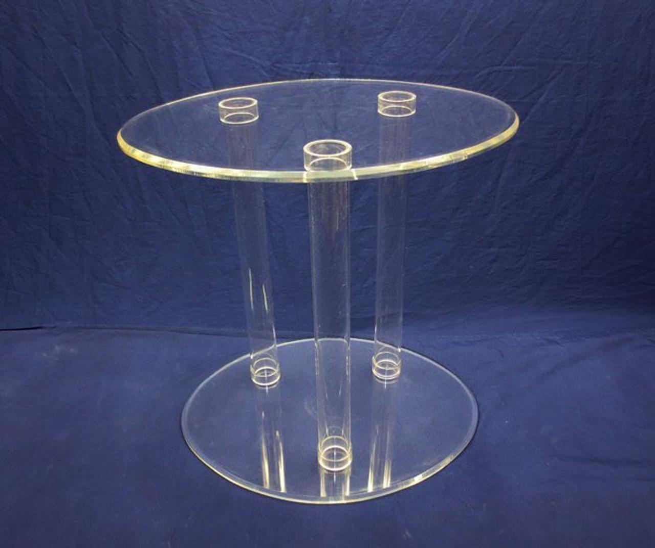 """ACRYLIC TUBULAR TABLE - CLEAR 24""""-36"""""""