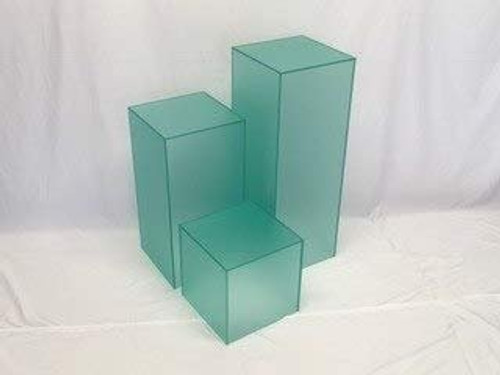 Clear Stands Matte Finish Green Square Cube, 12 Inch