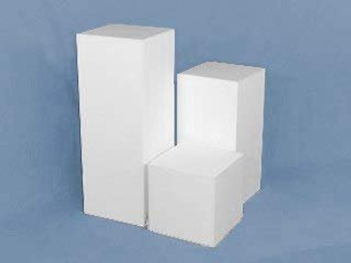 Clear Stands Matte Finish White Square Cube, 12 Inch