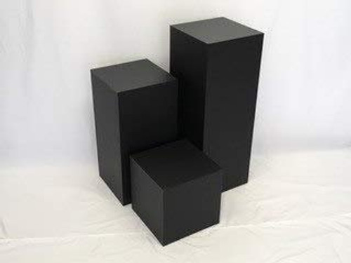 Clear Stands Matte Finish Black Square Cube, 24 Inch