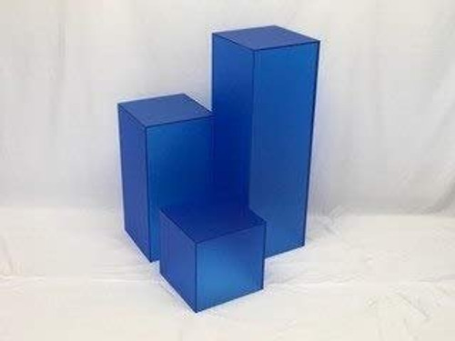 Clear Stands Matte Finish Blue Square Cube, 24 Inch