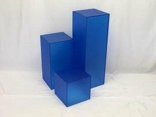 Matte Finish Blue Square Cube, 36 Inch