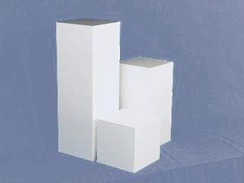 Clear Stands White Square Acrylic Display Cube, 18 Inch