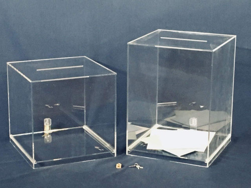 Clear Acrylic Large Card Box, 12 x 12 x 16 inch Cube with 7 inch Slot