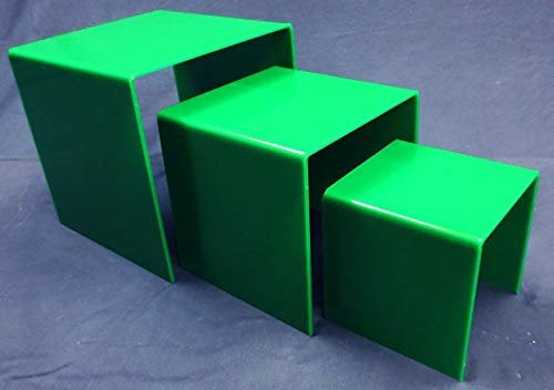 3 Piece Square Acrylic Riser Set, Green, 2 Sets Included