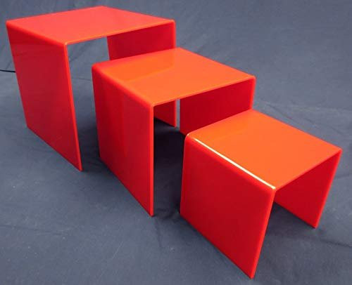 3 Piece Square Acrylic Riser Set, Red, 2 Sets Included