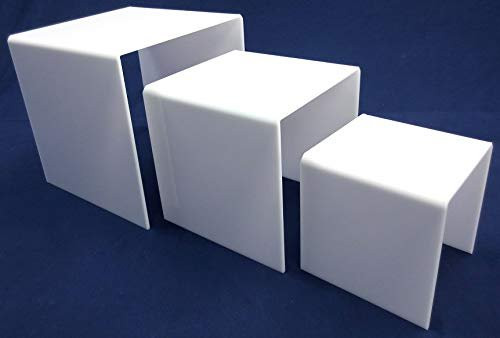 3 Piece Square Acrylic Riser Set, White, 2 Sets Included