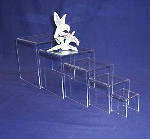 5 Piece Square Acrylic Riser Set, Clear, 2 Sets Included