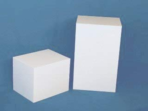 Clear Stands Rectangular Acrylic Display Cube - White, 18 Inch