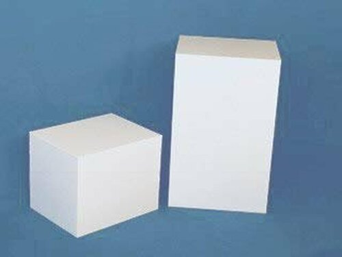 Clear Stands Rectangular Acrylic Display Cube - White, 30 Inch