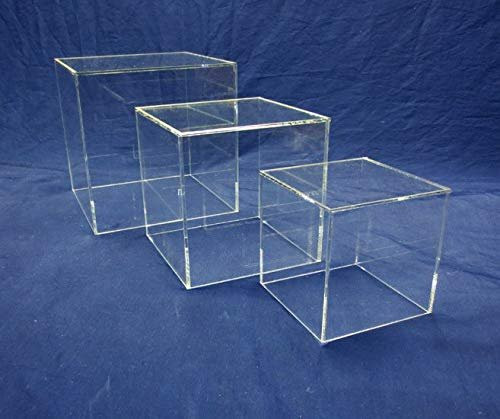 3 Piece Square Acrylic Cube Set, Clear