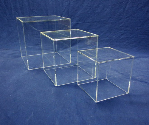 3 PIECE SQUARE ACRYLIC CUBE SET - CLEAR