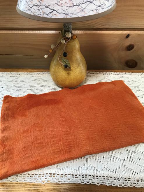 True Orange, Dark on Camel Herringbone