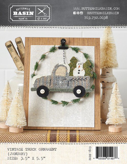Vintage January Truck Ornament