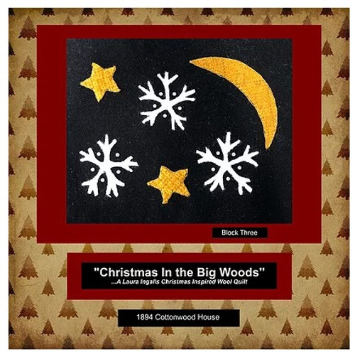 Christmas in the Big Woods - Block 3, Stars and Snowflakes Wool Kit