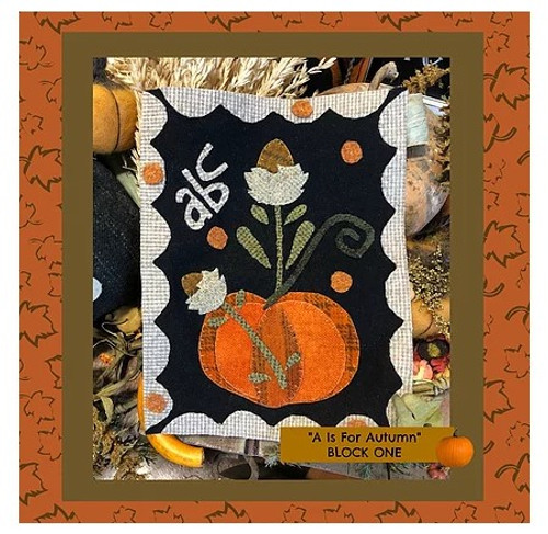 Autumn Alphabet Wool Quilt - Block 1, ABC