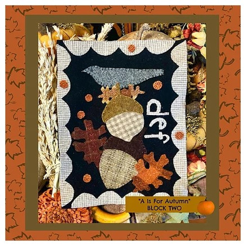 Autumn Alphabet Wool Quilt - Block 2, DEF
