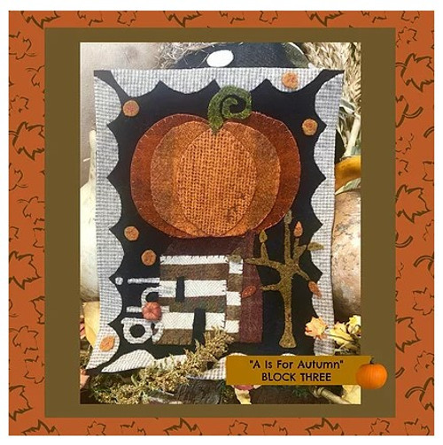 Autumn Alphabet Wool Quilt - Block 3, GHI